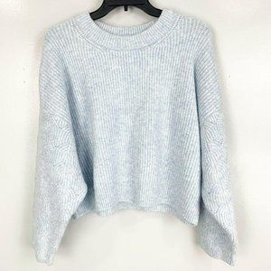 Topshop Crew Neck Balloon Sleeve Cropped Sweater